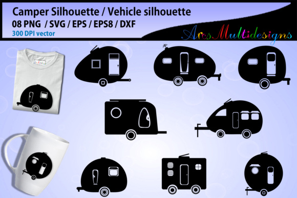 Print on Demand: Camper Car SVG Silhouette Graphic Crafts By Arcs Multidesigns