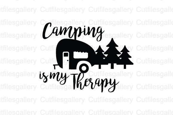 Download Free Camping Is My Therapy Graphic By Cutfilesgallery Creative Fabrica for Cricut Explore, Silhouette and other cutting machines.