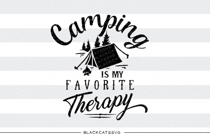 Download Free Camping Is My Therapy Svg Quote Grafik Von Blackcatsmedia for Cricut Explore, Silhouette and other cutting machines.