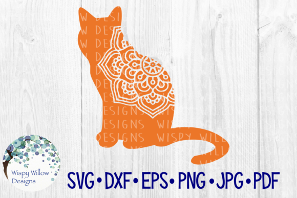 Download Free Cat Mandala Pet Animal Cut File Graphic By Wispywillowdesigns for Cricut Explore, Silhouette and other cutting machines.