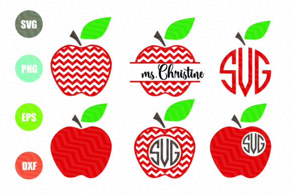 Download Free Chevron Apple Apple Monogram Teacher Graphic By Logotrain034 for Cricut Explore, Silhouette and other cutting machines.