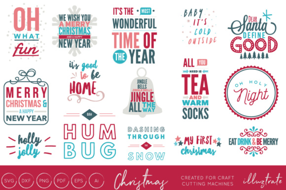 Print on Demand: Christmas Quotes Bundle Graphic Crafts By illuztrate