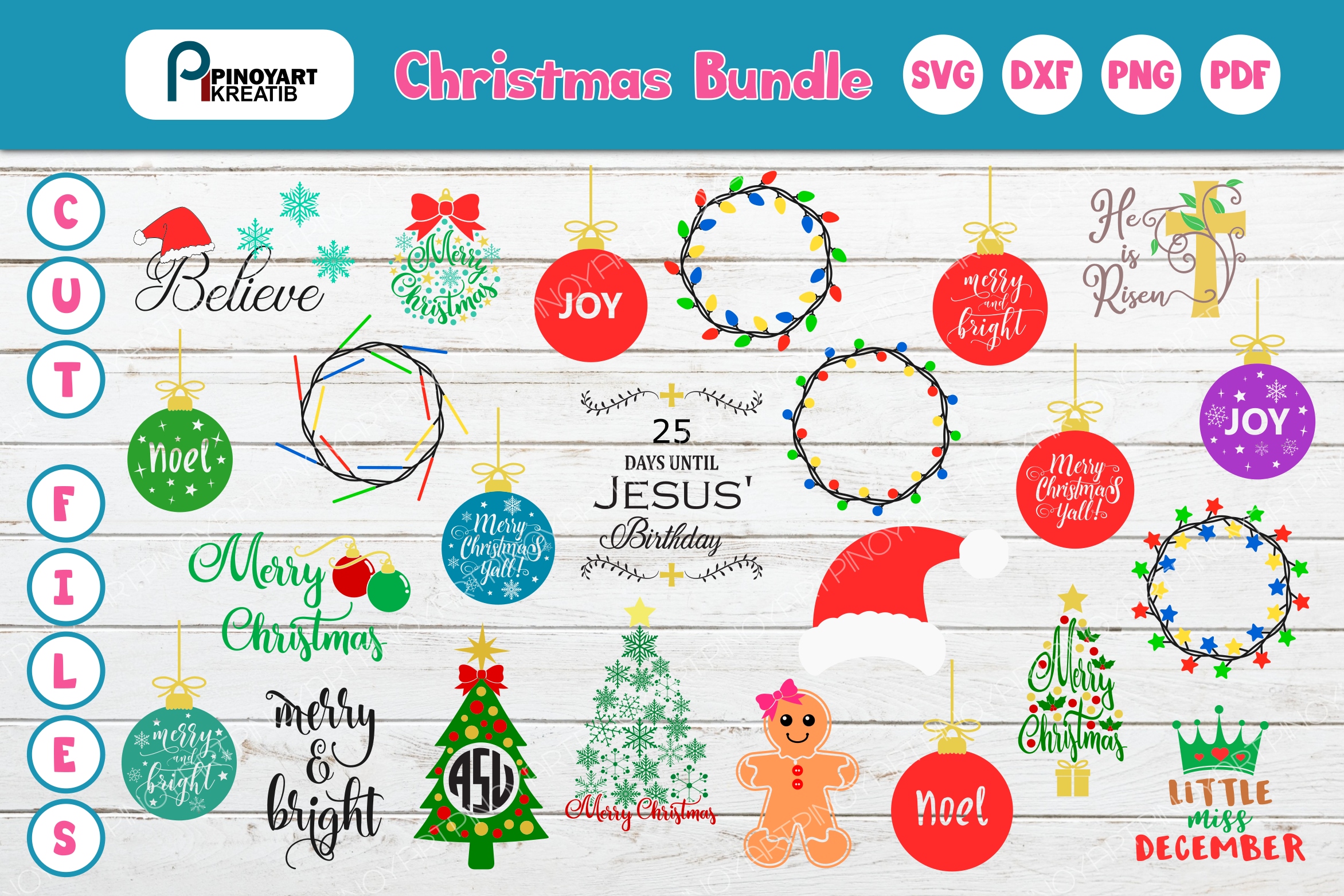 Download Free Christmas Bundle Graphic By Pinoyartkreatib Creative Fabrica for Cricut Explore, Silhouette and other cutting machines.