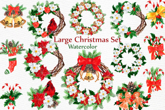 Large Christmas Watercolor Clipart Set Graphic Illustrations By LeCoqDesign