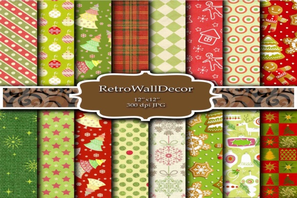 Print on Demand: Christmas Digital Papers Graphic Backgrounds By retrowalldecor