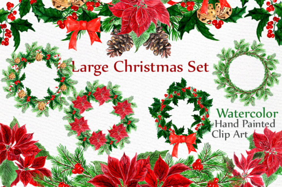 Hand Painted Christmas Wreaths and Floral Designs Graphic Illustrations By LeCoqDesign