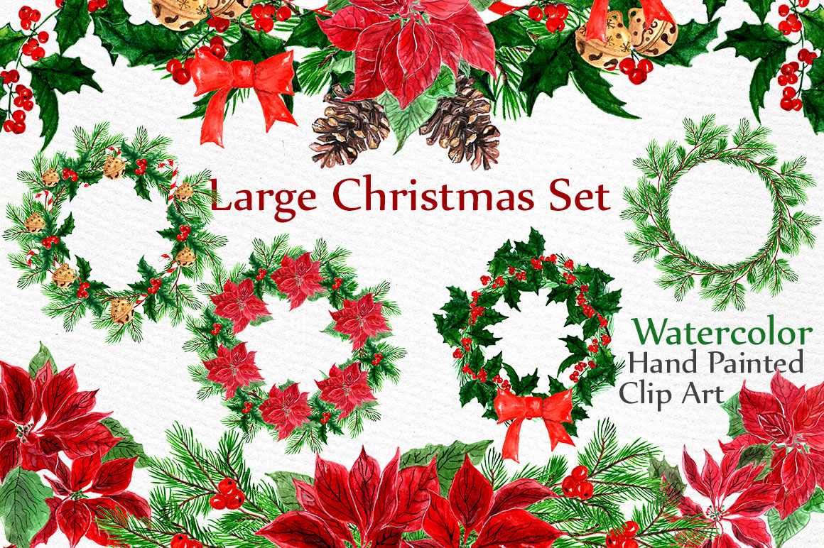 Download Free Hand Painted Christmas Wreaths And Floral Designs Graphic By SVG Cut Files