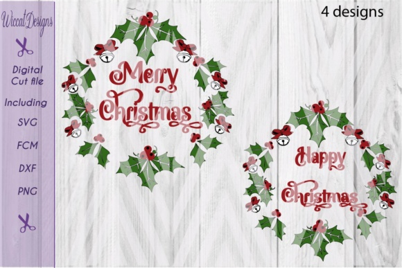 Download Free Christmas Wreath Graphic By Wiccatdesigns Creative Fabrica for Cricut Explore, Silhouette and other cutting machines.