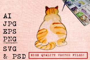 Download Free Chubby Cat Watercolor Graphic By Ambar Art Creative Fabrica for Cricut Explore, Silhouette and other cutting machines.