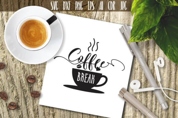 Download Free Coffee Break Graphic By Vector City Skyline Creative Fabrica for Cricut Explore, Silhouette and other cutting machines.