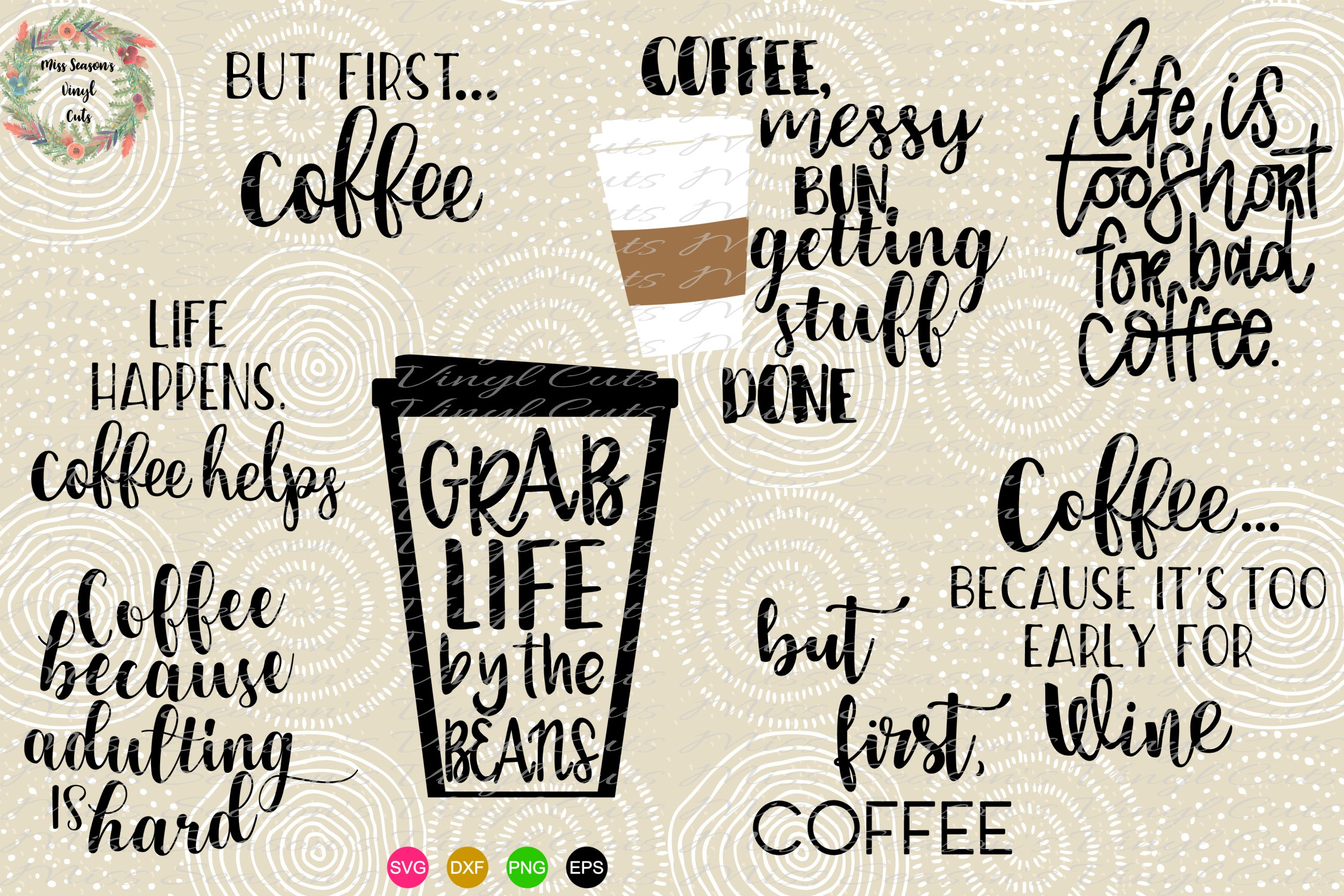 Download Free Coffee Bundle Graphic By Missseasonsvinylcuts Creative Fabrica for Cricut Explore, Silhouette and other cutting machines.