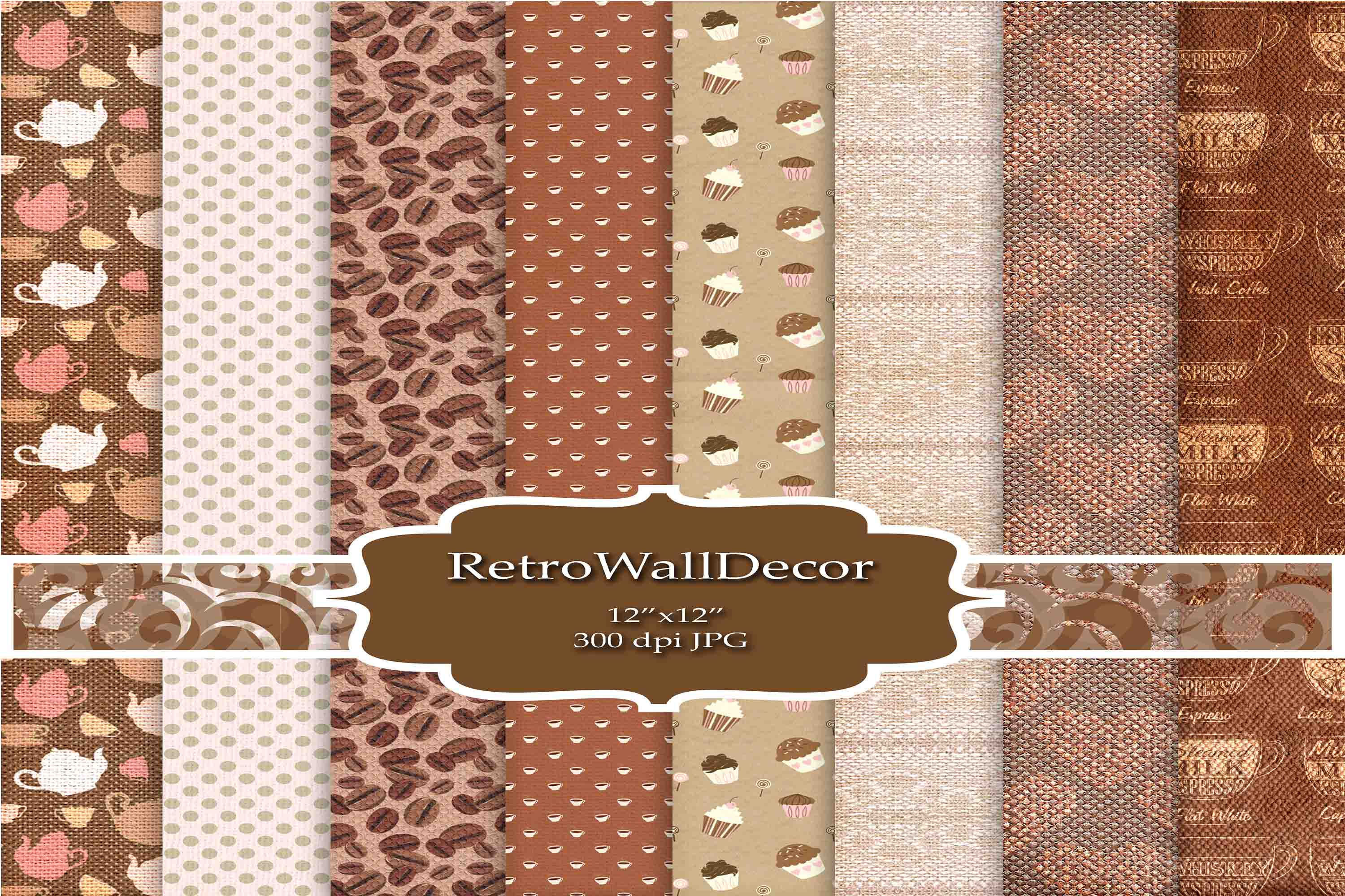 Download Free Coffee Digital Paper Graphic By Retrowalldecor Creative Fabrica for Cricut Explore, Silhouette and other cutting machines.