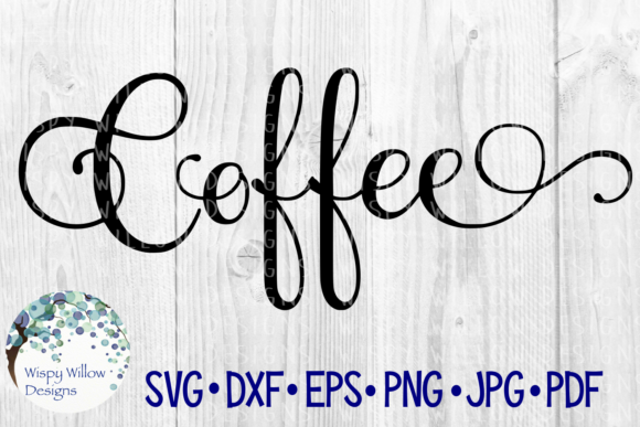 Coffee Elegant Scroll Label Cut File Graphic Crafts By WispyWillowDesigns
