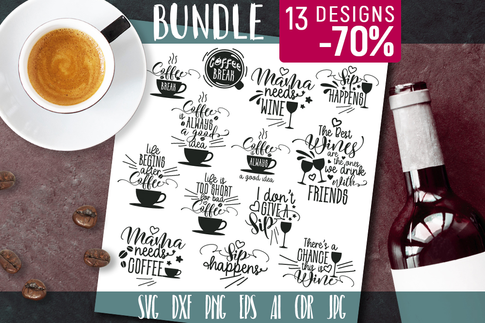 Download Free Coffee Wine Graphic Bundle Graphic By Vector City Skyline for Cricut Explore, Silhouette and other cutting machines.