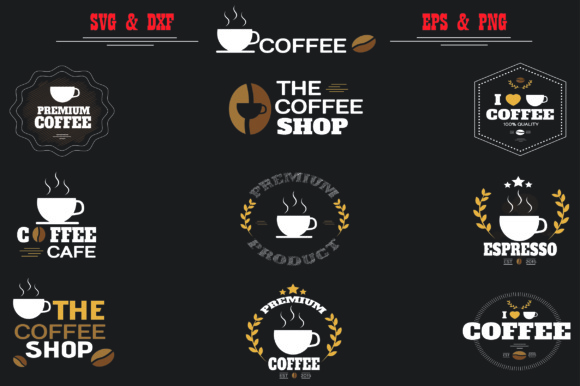 Coffee Labels Collection, SVG,EPS,DXF, PNG Files, 9 Coffee_Graphic Graphic Graphic Templates By Best_Store
