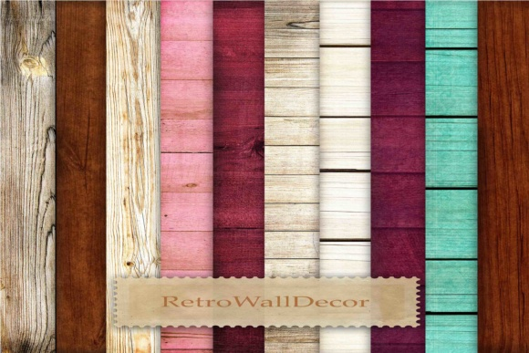 Print on Demand: Colored Wooden Backgrounds Graphic Backgrounds By retrowalldecor