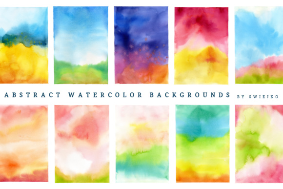 Print on Demand: Colorful Watercolor Ombre Background Graphic Illustrations By swiejko - Image 2