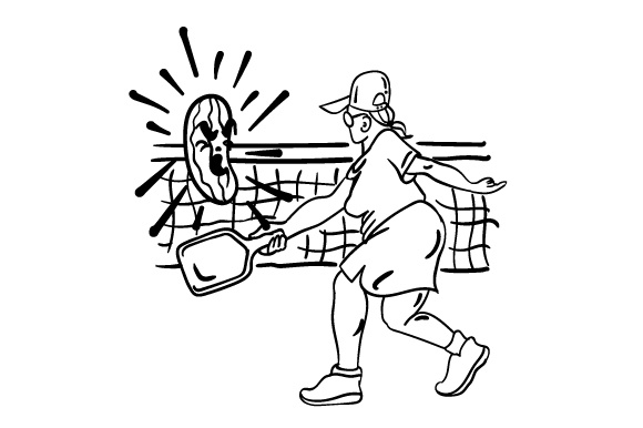 Download Free Comical Character Who Is Playing Pickleball Archivos De Corte Svg for Cricut Explore, Silhouette and other cutting machines.