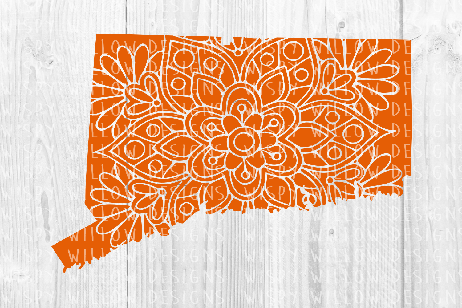 Download Free Connecticut Ct Floral Mandala State Cut File Graphic By for Cricut Explore, Silhouette and other cutting machines.