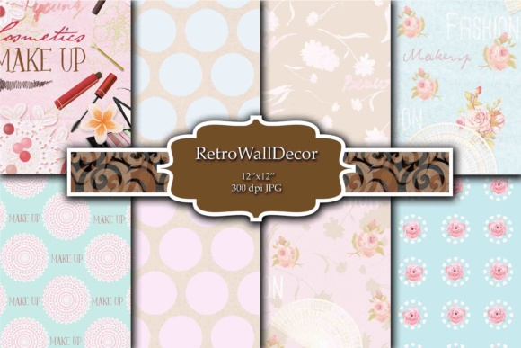 Print on Demand: Cosmetics Papers Graphic Backgrounds By retrowalldecor