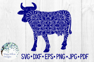 Download Free Cow Farm Animal Mandala Cut File Graphic By Wispywillowdesigns for Cricut Explore, Silhouette and other cutting machines.