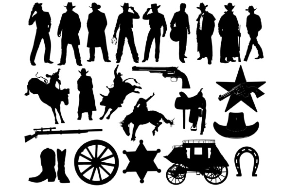 Cowboy Silhouettes Graphic By twelvepapers