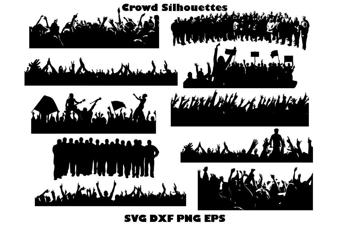 Download Free Crowd Silhouette Graphic By Twelvepapers Creative Fabrica for Cricut Explore, Silhouette and other cutting machines.