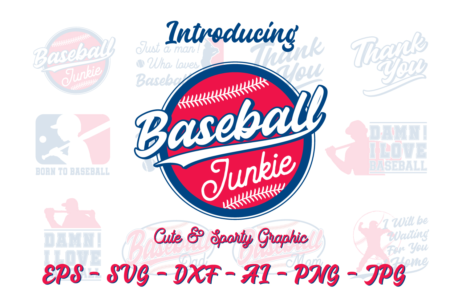 Download Free Cute Sporty Graphic Baseball Edition Graphic By Din Studio for Cricut Explore, Silhouette and other cutting machines.