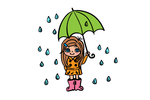 Cute Girl Holding An Umbrella Standing In The Rain Svg Cut File