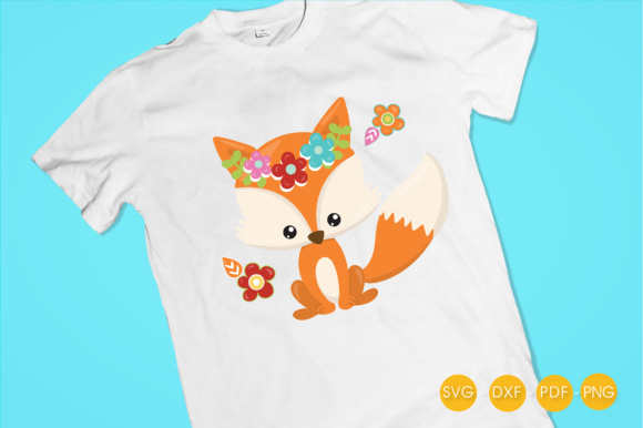 Cutesy Fall Fox - Flowers Graphic Crafts By PrettyCuttables - Image 2