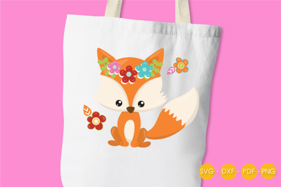 Cutesy Fall Fox - Flowers Graphic Crafts By PrettyCuttables - Image 3