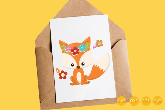 Cutesy Fall Fox - Flowers Graphic Crafts By PrettyCuttables - Image 4