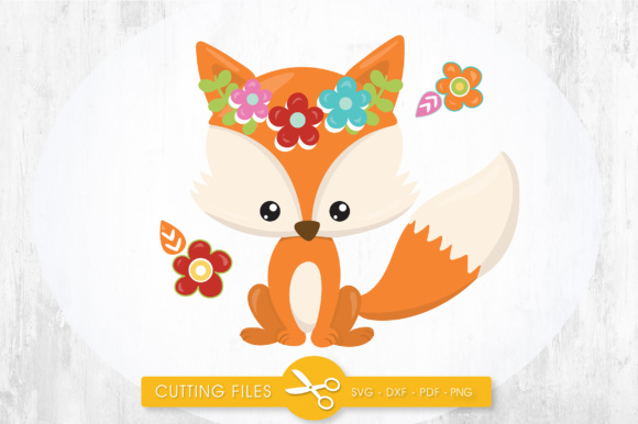 Cutesy Fall Fox - Flowers Graphic Crafts By PrettyCuttables - Image 1