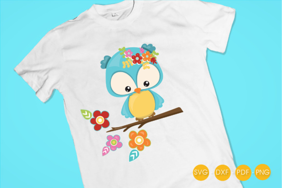 Cutesy Fall Owl - Flowers Graphic Crafts By PrettyCuttables - Image 2
