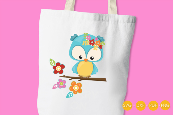 Cutesy Fall Owl - Flowers Graphic Crafts By PrettyCuttables - Image 3