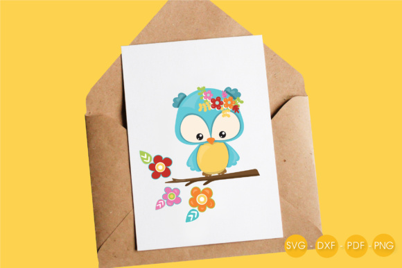 Cutesy Fall Owl - Flowers Graphic Crafts By PrettyCuttables - Image 4