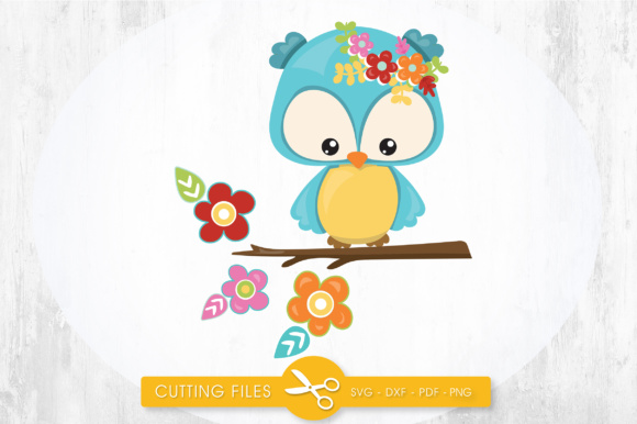 Download Free Cutesy Fall Owl Flowers Graphic By Prettycuttables Creative for Cricut Explore, Silhouette and other cutting machines.