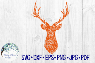 Download Free Deer Head Buck Zentangle Animal Graphic By Wispywillowdesigns for Cricut Explore, Silhouette and other cutting machines.