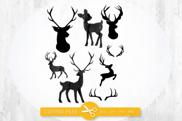 Deer Silhouettes Graphic Crafts By PrettyCuttables
