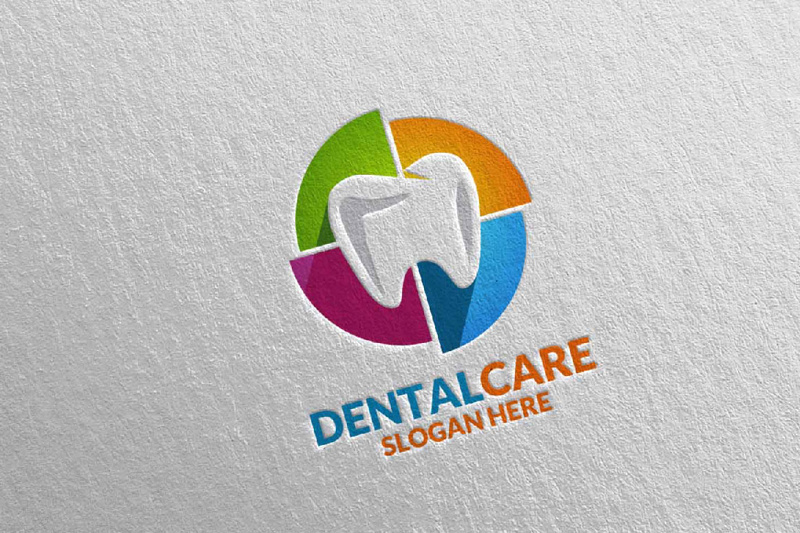 Download Free Dental Logo Dentist Stomatology Colorful Tooth Design Graphic for Cricut Explore, Silhouette and other cutting machines.