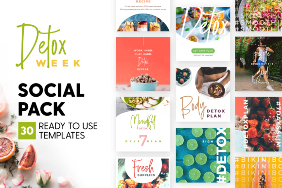 Print on Demand: Detox Week - Social Pack Graphic UX and UI Kits By lavie1blonde