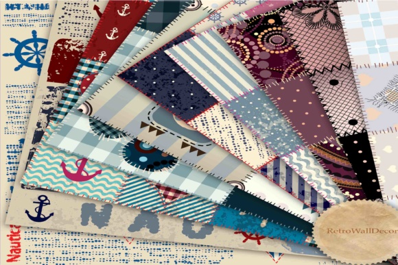Print on Demand: Digital Patchwork Quilt Fabric Graphic Backgrounds By retrowalldecor