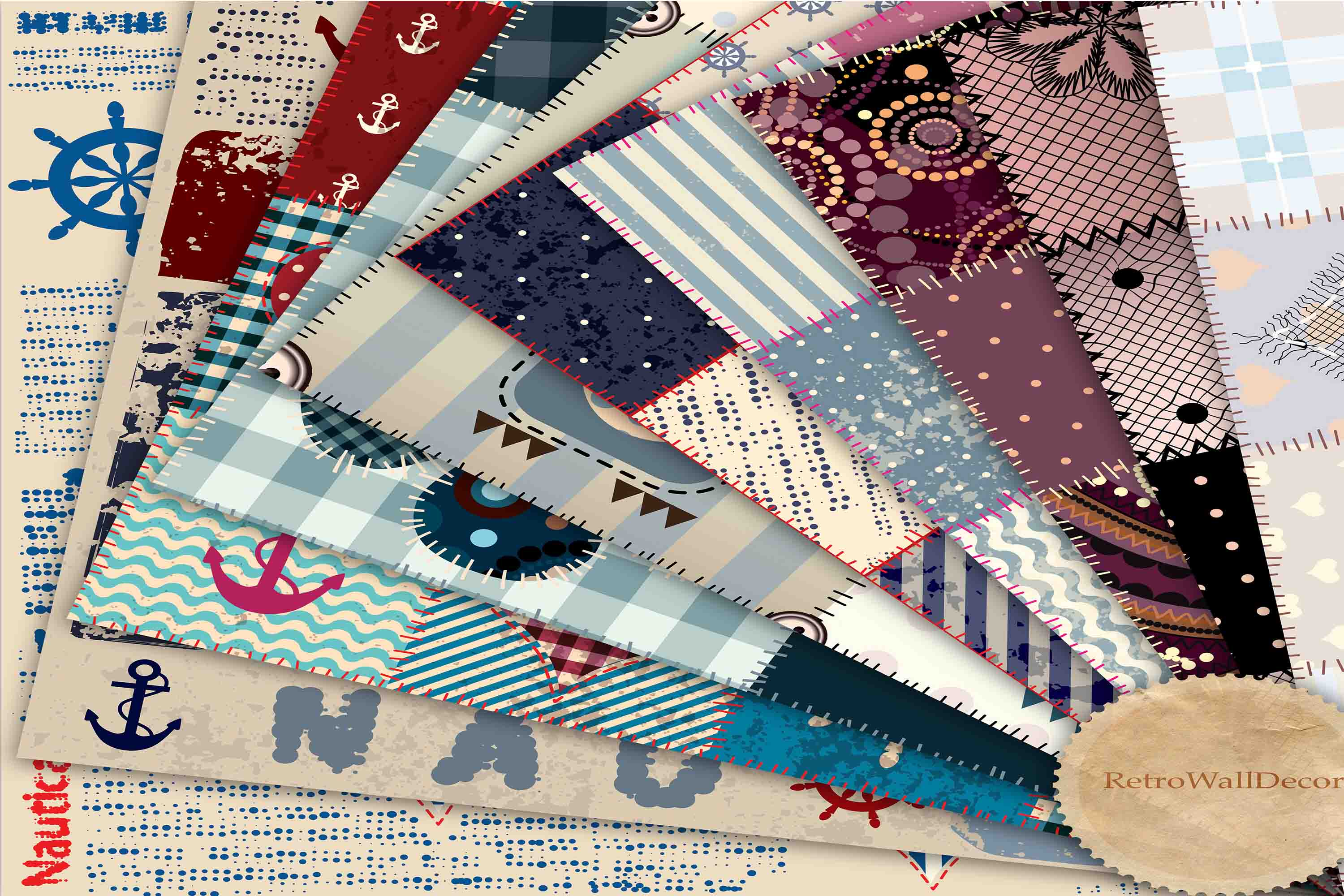 Download Free Digital Patchwork Quilt Fabric Graphic By Retrowalldecor for Cricut Explore, Silhouette and other cutting machines.