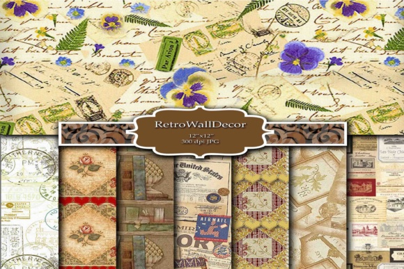 Print on Demand: Digital Scrapbooking Paper Graphic Backgrounds By retrowalldecor