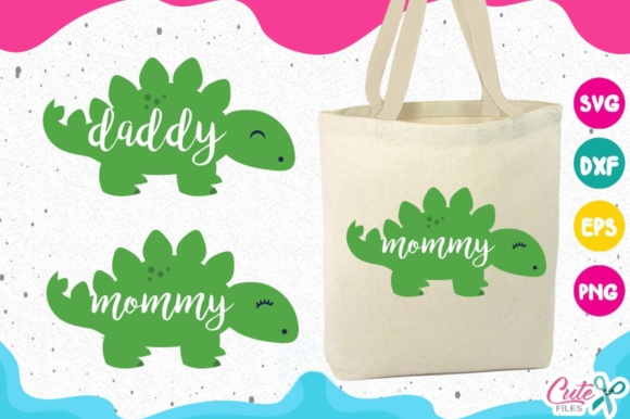 Download Free Dinosaur Family Papa Dinosaur Baby Dinosaur Graphic By Cute for Cricut Explore, Silhouette and other cutting machines.
