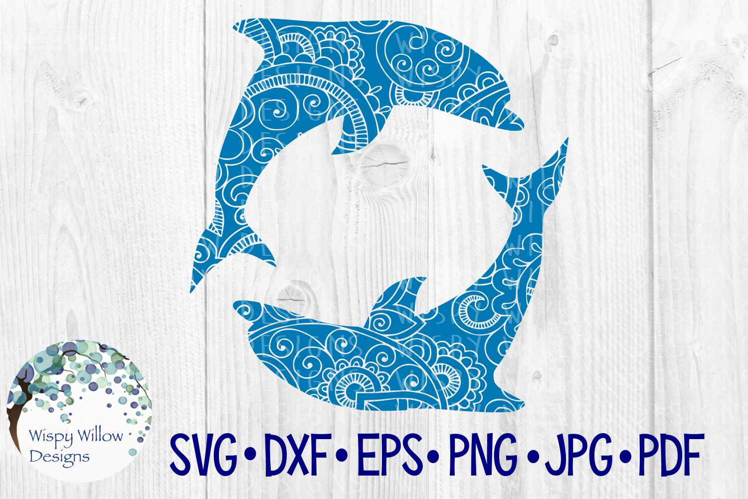 Download Free Dolphin Circle Zentangle Ocean Animal Graphic By SVG Cut Files