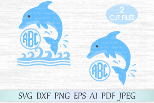 Download Free Dolphin Monogram Graphic By Magicartlab Creative Fabrica for Cricut Explore, Silhouette and other cutting machines.