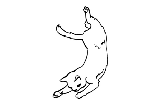 Drawing Of A Falling Cat SVG Cut File By Creative Fabrica
