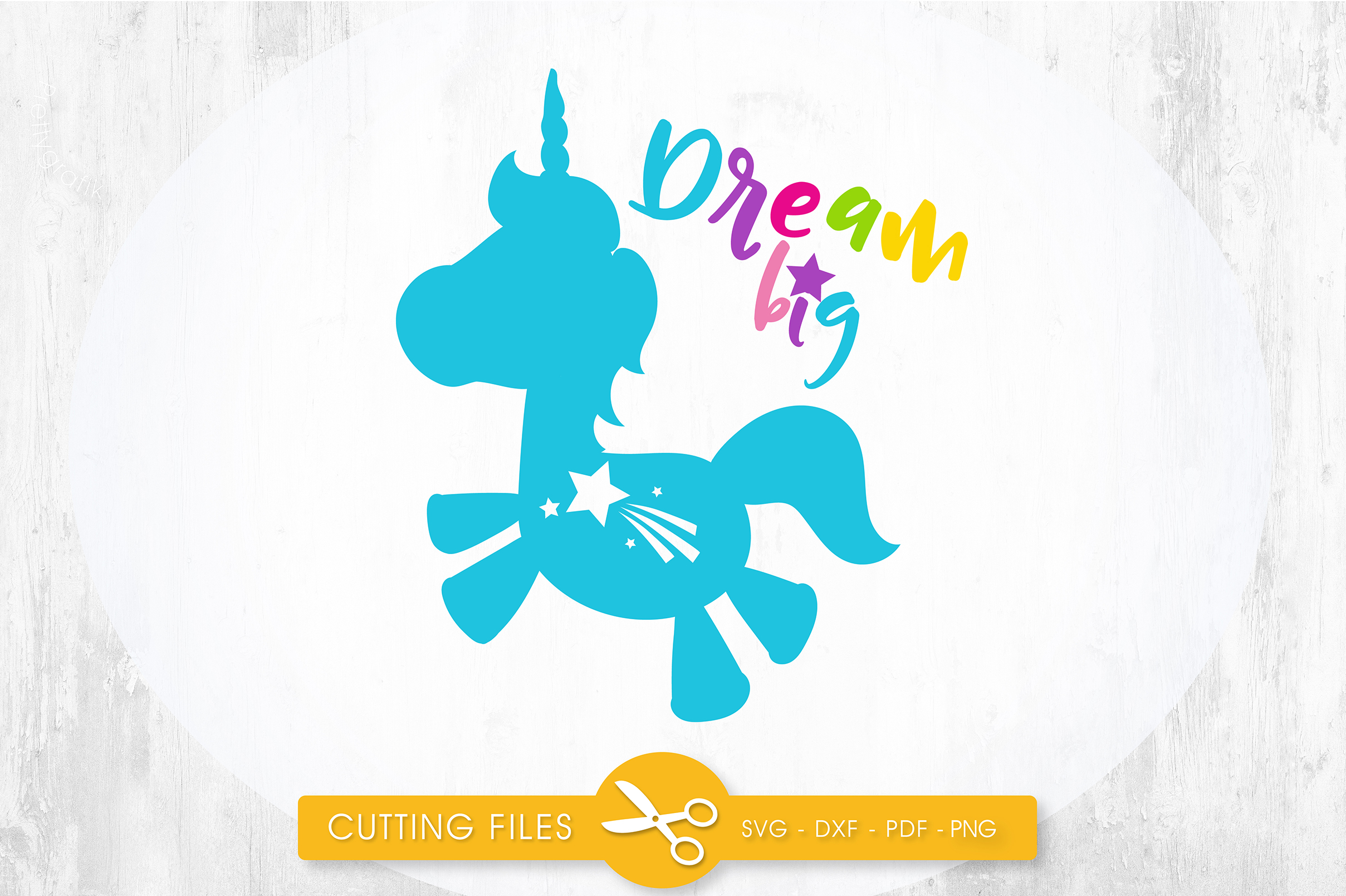 Download Free Dream Big Unicorn Graphic By Prettycuttables Creative Fabrica for Cricut Explore, Silhouette and other cutting machines.