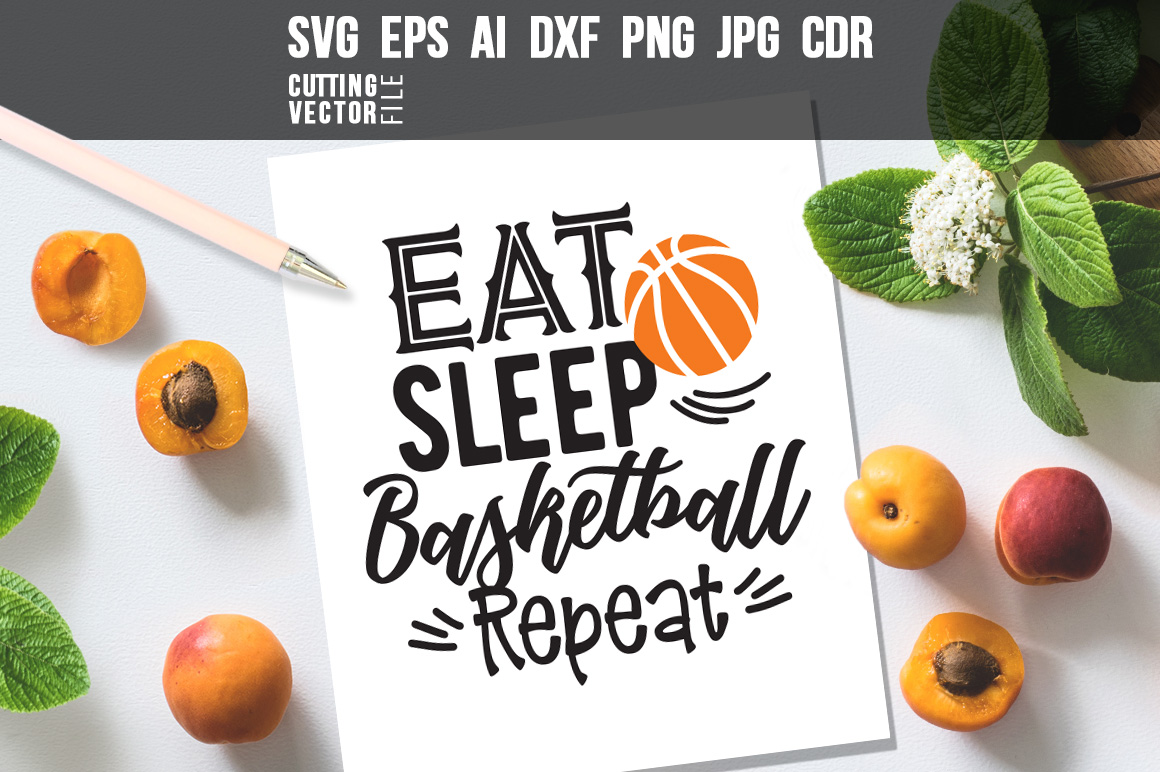 Download Free Eat Sleep Basketball Repeat Graphic By Danieladoychinovashop for Cricut Explore, Silhouette and other cutting machines.